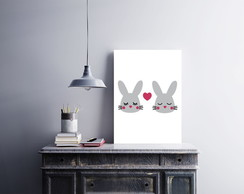 "Placa decorativa MDF ""Cute Little Rabbits"""
