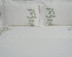 cb3f9b927e ... Roupa de Cama Queen 250 fios Bambu branco verde