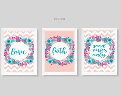 Quadros Floral Chevron Love Faith Good Vibes