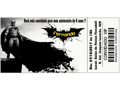 Convite Ingresso Batman - Arte Digital