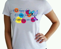 Camisetas baby look FLOWERS branca