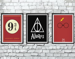 Kit com 3 Quadros Decorativos 20x30cm Harry Potter