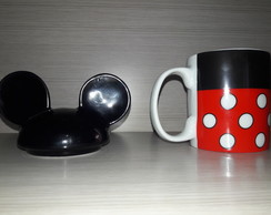 caneca porcelana com tampa minnie grande 300ml decorada