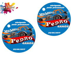 Tag de agradecimento 4cm Hot Wheels