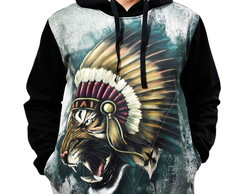 Blusa de Frio Printfull Moletom Tiger Warlod Indian