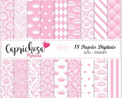 Kit Papel Digital Coroa Rosa
