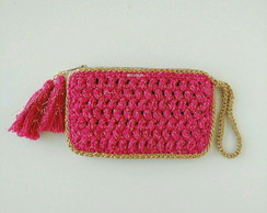 Case de crochê- mini clutch pink