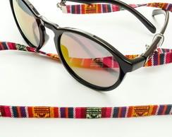 ... segura óculos étnico vermelho e mostarda 74f710f131