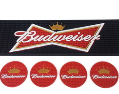 Kit Budweiser Bar Mat + 6 Porta Copos