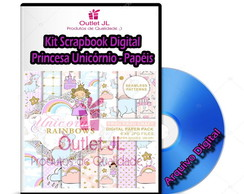 Kit Scrapbook Digital - Princesa Unicórnio - Papéis