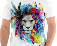 Camisa Camiseta Personalizada Animal Leão Pop Arte