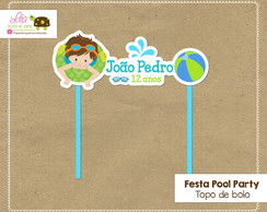 Topo bolo Festa Piscina (Pool Party) Menino