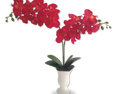 Orquídea Double Red Arranjo Flor Artificial Vaso Cerâmica