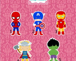 Tag Aplique Vingadores Cute 5 cm