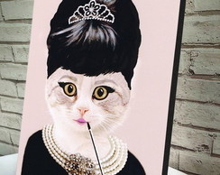 Poster / Placa Decorativa / Quadro A4 Audrey Hepburn Cat