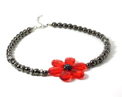 Choker Black Flower