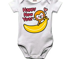 Body bebê ou camiseta infantil Happy New Year Macaquinho