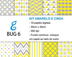 Kit papel digital amarelo e cinza