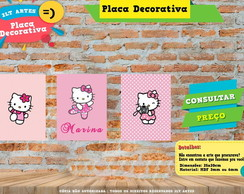 Placa Decorativa - 3 Placas Personalizada Hello Kitty
