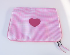 "Case para Notebook 13"" Mini Xadrez Rosa"