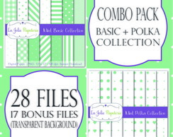 Mint Basic + Polka Collection - Papel Digital