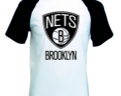 Camiseta Raglan Manga Curta Brooklyn Nets