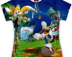 46f5103f87 Camiseta Baby Look Feminina Azul Sonic