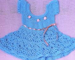 909900fb4 Vestido de Croche com Forro 9 Meses | Elo7