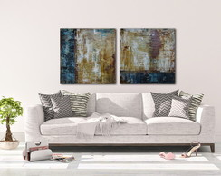 quadros abstratos- arte - decor- duo rusty blue- abstrato
