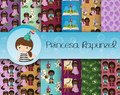 Papel Digital Princesa Rapunzel Negra