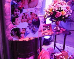 Display com fotos para decorar festa PVC