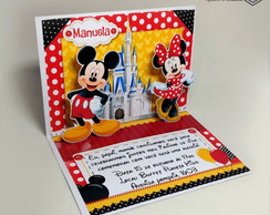 Convite Pop Up - Mickey e Minnie