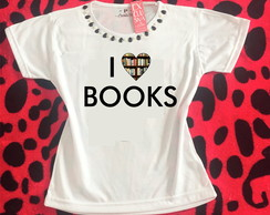 Baby look Customizada - Bibliotecária I love books