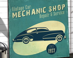 Placas Decorativas Em Mdf 30x30 Vintage Car Mechanic Shop