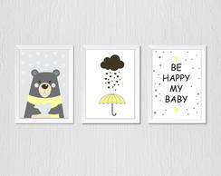 Quadro urso, guarda-chuva e be happy
