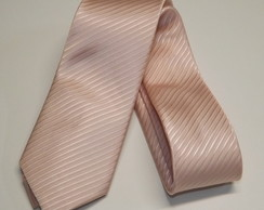 Gravata Rose Quartz Semi Slim Lista Diagonal