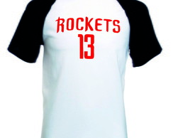 Camiseta Raglan Manga Curta Houston Rockets Basquete