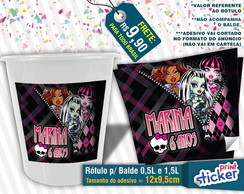 Rótulo p/ Balde - Monster High