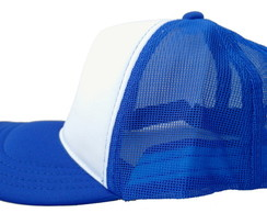 BONÉS TRUCKER AZUL ROYAL E BRANCO SEM ESTAMPA