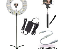 Ring Light Plus Branco 47w + Tripé + Monopod E Dimmer