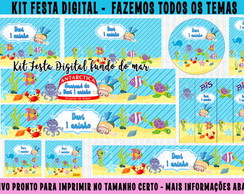 kit festa digital fundo do mar - 10 artes