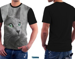 Camiseta Unissex Basica Gato Cinza Love Cat