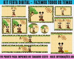 kit festa digital mickey safari - 10 artes
