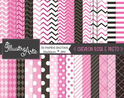 Papel Digital Chevron Rosa e Preto