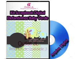 Kit Scrapbook Digital - Elefantinhos Baby Verde