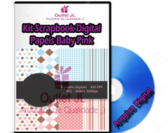 Kit Scrapbook Digital - Papéis Baby Pink