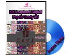 Kit Scrapbook Digital - Papéis Candy XD