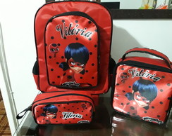 MOCHILA ESCOLAR LADY BUG( KIT)