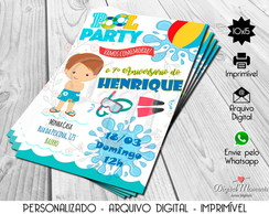 Convite Digital Pool Party - Menino