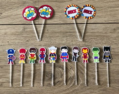 Toppers para doces - super heróis mini